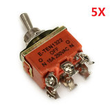 Wendao KN-1322 ON/OFF/ON AC 250V 15A 6 Pins Toggle Rocker Switch 5pcs