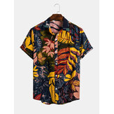 Mens Cotton Tropical Leaves Print Breathable Vacation Casual Shirts