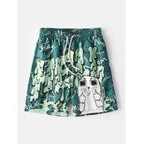 Mens Engraçado Graffiti Print Mesh Liner Quick Dry Holiday Casual Board Shorts