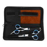 Ensemble de ciseaux de coupe de cheveux professionnels 5PCS Tondeuse à cheveux portable avec étui de rangement