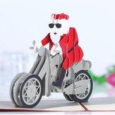 3D karácsonyi motorkerékpár Mikulás Pop Up üdvözlőlap karácsonyi ajándékok Party üdvözlőlap
