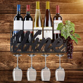 Tiebohui Practical Liquor Rack Wall Mounted Goblet Holder Easy Install Iron Wire Durable Storage Shelf