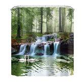 3D Wasserfall Landschaft Wasserdichter Duschvorhang Anti-Rutsch-Badematten Teppiche Sockelteppiche Badezimmerdekoration Set