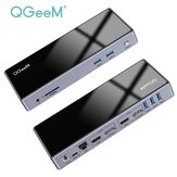 QGeeM 15- In-1 Quadruple Display USB-C Hub Docking Station Adapter With Dual 3.5mm AUX / Memory Card Readers / 5*USB3.0 /  2 *4K HDMI HD Display / 2* Displayport Vedio Output / RJ45 Gigabit Ethernet / USB-C Input / DC Power Intput