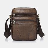 Men Genuine Leather Business Casual Solid Color Leather Shoulder Bag Crossbody Bag