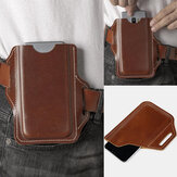 Men Genuine Leather Solid 6.3 Inch Phone Holder Waist Bag Belt Bag