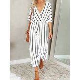 Women Casual Loose V-Neck Striped Jumpsuit