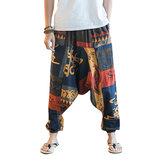 पुरुषों की आरामदायक जातीय शैली मुद्रित कपास हरेन पैंट