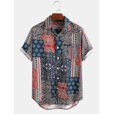Mens Ethnic Style Handkerchief Print Chest Pocket Short Sleeve Casual Vintage Shirts