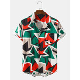 Mens Funny Colorful Color Block Casual Shirts