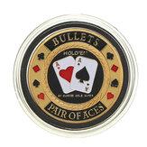 Metal Poker Koruyucu Kart Koruyucu Paralı Çip Altın Renkli, Yuvarlak Plastik Kaplama Kılıf