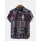 Heren Etnische stijl patroon afdrukken Casual overhemden met korte mouwen