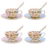 3قطعة/المجموعةالأزياءالبريطانية العظام الصين فنجان القهوة الصحن ملعقة للمنازل والمكاتب