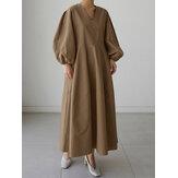 المرأة الصلبة الخامس الرقبة نفخة كم فضفاض عادي فستان ماكسي مع جيب