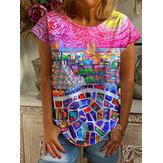 Mujer Colorful Oil Camiseta de manga corta informal con cuello redondo y estampado City Painting
