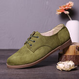 LOSTISY Suede Lace Up Solid Color Casual Chaussures plates formelles