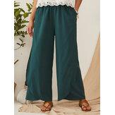 Pantalon ample décontracté à taille élastique avec poche large pour les femmes