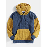 Mens Corduroy Patchwork Drop Shoulder Long Sleeve Kangaroo Pocket Hoodies