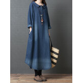 Collare Doll per donne Denim Blue Long Camicia Abito