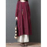 Mujer vendimia Manga larga de rayas de algodón de lino Vestido