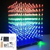 Phiên bản nâng cấp DIY WIFI APP 8x8x8 3D Light Cube Kit Red Blue Green LED MP3 Music Spectrum Bộ điện tử với Bộ khuếch đại 3W + Loa 3W