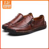 Menico Men Soft Hand Stitching Genuine Leather Side Zipper Slip On Oxfords