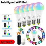1/2 / 3Pcs 7W E27 WiFi Smart Light Bulb Dimmable APP Voice Control LED Lighting Bulb Smartphone Control Multicolor Changing Lights Bulbs Home Decor