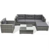 KCASA 6/8 sztuk Szary zestaw rattanowy Luksusowe sofy Zdejmowane wygodne meble Ogród / salon Lounge