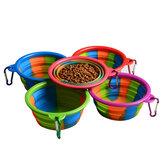 Складной Силиконовый Pet Bowl Портативный Собака Пищевые продукты для подачи питьевой воды На открытом воздухе Чаша