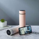 Taza aislada inteligente IPRee® de 450 ml LCD Temperatura Pantalla Soporte para teléfono Botella de agua Termo al vacío de acero inoxidable cámping Viaje