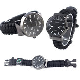 IPRee® 5 In 1 EDC Survival Compasss Bracelet Watch Camp Emergency Nylon Paracord Wristband