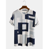 Mens Casual Patchwork Printing Breathable Crew Cuello Camisetas de ocio