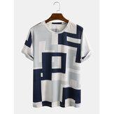 Heren Casual patchwork bedrukking Ademende T-shirts met ronde hals en vrije tijd