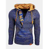 Suéter de punto con cremallera con cuello en V para hombre Suéteres con capucha con cordón informal