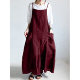 S-5XL Casual Spaghetti Strap Solid Color Maxi Women Dress