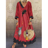 Women Funny Cartoon Cat Polka Dot Patchwork V-Neck Long Sleeve Casual Maxi Dresses
