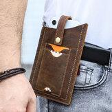 Men EDC Genuine Leather Cowhide 6.5 Inch Phone Bag Belt Sheath Waist Bag