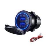 12-24V QC 3.0 rapide double chargeur USB interrupteur tactile accessoire étanche pour moto voiture camion bateau