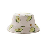 Unisex Summer Avocado Fisherman Hat Outdoor Travel Sun Hat
