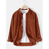 Mens Corduroy Solid Color Lapel Long Sleeve Shirts With Flap Pocket