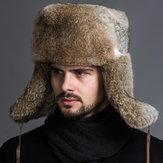 Mannen van middelbare leeftijd namaak konijnenbont trapper hoed Russische Cap