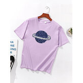 Cosmic Planet Print Sequins Simple Basic Short Sleeve Casual T-shirt