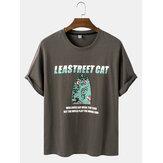 Męskie koszulki z kreskówkowym kotem i nadrukiem postaci, luźne, codzienne koszulki z okrągłym dekoltem