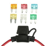 Car 12V In Line Mini Blade Fuse Holder with 5 10 15 20 25 30A Fuses