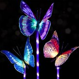 3pcs Solar Multi-Color Fiber Optic Butterfly LED Stake Light voor Outdoor Garden Decor