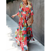 Women Casual Multicolor Floral Print Split Hem V- Neck Bohemian Half Sleeve Maxi Dresses