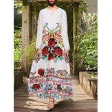 Vestidos casuais de viagem all Seaon com decote em V floral de manga completa