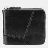 Men Genuine Leather Zipper Around Wallet Card Holder Coin Bag
