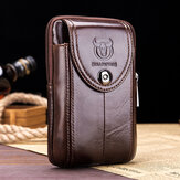 Bullcaptain Christmas Gift Genuine Leather Phone Bag Waist Bag Business Bag For Men