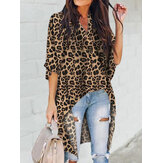 Women Leopard Print Irregular Hem V-neck Casual Blouse